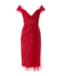 Marchesa - Red Off The Shoulder Lace Cocktail Dress - Lyst