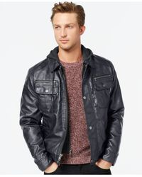 Michael Kors   Blue Michael Faux-leather Hooded Jacket for Men   Lyst