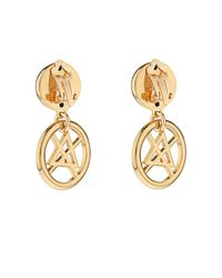 Moschino - Metallic Dry Cleaning Sign Earrings - Lyst