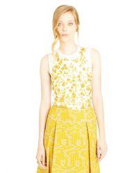 Oscar de la Renta - Yellow Silk Wool Tank With Marigold Floral Embroidered Panel - Lyst