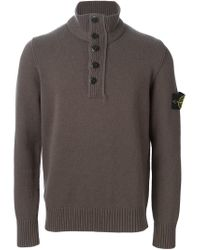 Stone Island - Gray Buttoned Sweater for Men - Lyst