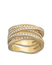 Swarovski | Metallic Spiral Crystal And Goldtone Ring | Lyst