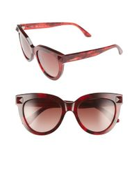 Valentino | Red 'rockstud' 52mm Cat Eye Sunglasses | Lyst