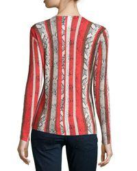 Neiman Marcus - Multicolor Snake-stripe-print Cashmere Sweater - Lyst