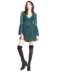 Free People | Green 'With Love' Babydoll Dress | Lyst
