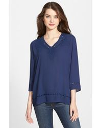 NYDJ - Blue Eyelet Embroidered Blouse - Lyst