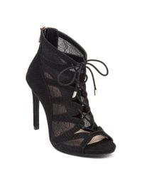 Jessica Simpson | Black Ranissa Suede Open-toe Booties | Lyst