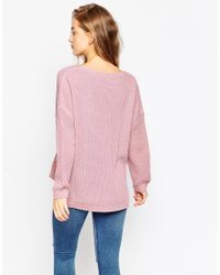 ASOS | Green Ultimate Chunky Jumper With V-neck | Lyst