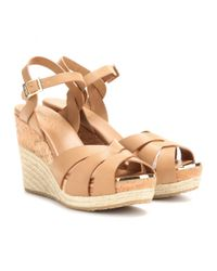 Jimmy Choo - Brown Pallet Leather Wedge Sandals - Lyst