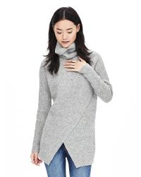 Banana Republic | Gray Crossover Turtleneck Tunic | Lyst