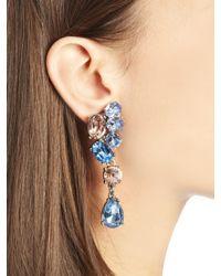 Oscar de la Renta - Blue Swarovski Crystal Asymmetrical Earrings - Lyst