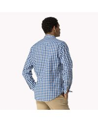 Tommy Hilfiger | Blue Cotton Check Fitted Shirt for Men | Lyst