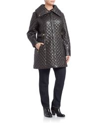 Via Spiga - Black Plus Envelope-collared Quilted Coat - Lyst