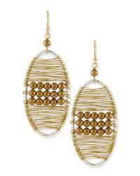Panacea | Metallic Golden Beaded Wire Wrap Earrings | Lyst
