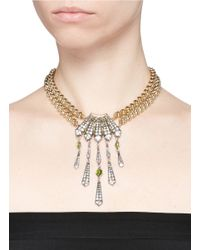 Lulu Frost - Metallic 'brigitte' Art Deco Pendant Glass Stone Necklace - Lyst