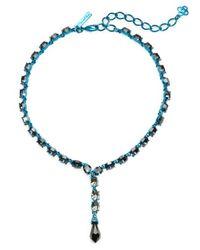 Oscar de la Renta | Blue Crystal Briolette Y Necklace | Lyst