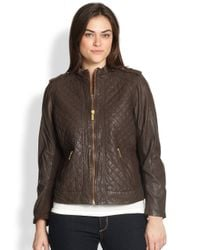 c19461e3c MICHAEL Michael Kors Quilted Leather Motorcycle Jacket in Brown - Lyst