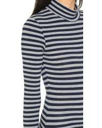 Capulet - Blue Long Sleeve Turtleneck Bodysuit - Navy/heather Grey Stripe - Lyst