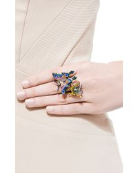 Lydia Courteille - Blue 18k Gold Kites Ring with Diamonds and Enamel - Lyst