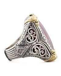 Konstantino - Metallic Rectangle Silver 18k Gold Rubyquartz Ring - Lyst