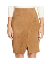 Ralph Lauren | Brown Suede Pencil Skirt | Lyst