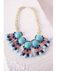 Missguided | Blue Oversized Bead Detail Necklace Turquoise | Lyst
