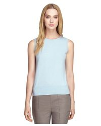 Brooks Brothers - Blue Sleeveless Cashmere Shell - Lyst