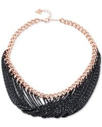 Guess | Black Rose Gold-tone And Hematite Chain Necklace | Lyst
