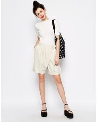 Monki | Natural Wrap Smart Tailored Short | Lyst