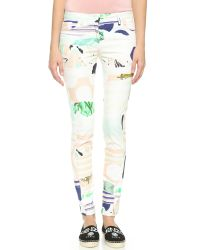 KENZO   Natural Torn Paper Skinny Jeans - Nude   Lyst