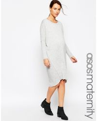 ASOS | Gray Maternity Oversized Jumper Dress | Lyst