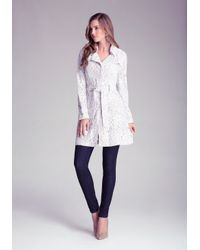 Bebe - White Lace Trench Coat - Lyst