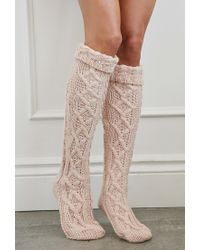 Forever 21 - Pink Cuffed Knee-high Slipper Socks - Lyst