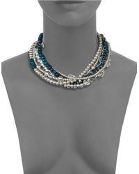 Uno De 50 | Blue Bead And Charm Choker Necklace | Lyst