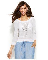 INC International Concepts - White Open-Knit Rhinestone Sweater - Lyst