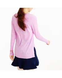 J.Crew | Pink Merino Wool V-neck Tunic Sweater | Lyst