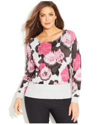 INC International Concepts - Pink Plus Size Animal-Print Sweater - Lyst