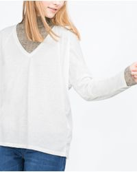 Zara | White V-neck Top | Lyst