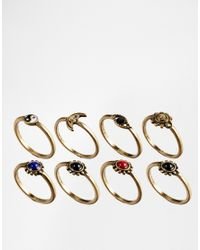 ASOS | Multicolor 90s Mixed Stone Ring Multipack | Lyst