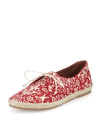 Tabitha Simmons - Red Dolly Printed-Linen Espadrilles  - Lyst