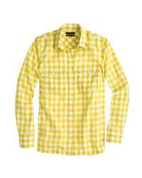 J.Crew - Yellow Gingham Utility Shirt - Lyst