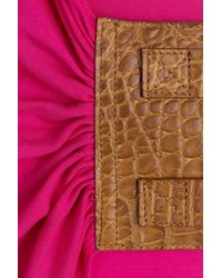 Michael Kors - Purple Short Sleeve Jersey Dress With Belt - Pink - Lyst