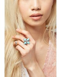 Forever 21 - Blue Peyote Bird Turquoise Flower Ring - Lyst