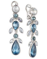 Givenchy | Linear Silver-tone & Blue Stone Earrings | Lyst