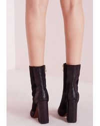 Missguided - Toe Cap Reptile Boots Black - Lyst