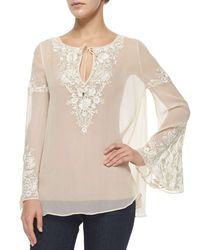 Haute Hippie - White Floral-embroidered Peasant Blouse - Lyst
