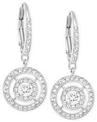 Swarovski | Metallic Silver-tone Crystal Circle Drop Earrings | Lyst