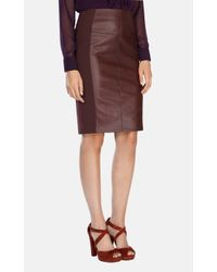 Karen Millen | Brown Leather Look Ponte Roma Pencil Skirt | Lyst