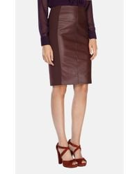 Karen Millen - Brown Leather Look Ponte Roma Pencil Skirt - Lyst