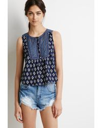 Forever 21 | Blue Embroidered Mixed Print Top | Lyst
